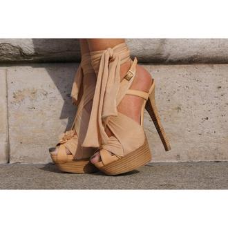 shoes high heels beige heels beige shoes beige high heels bow high heels