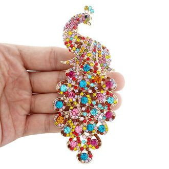 jewels brooch peacock pin colorful peacock