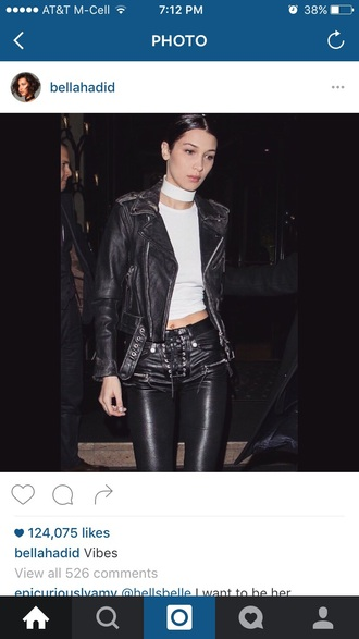 bella hadid leather leather pants lace up choker necklace leather jacket white top