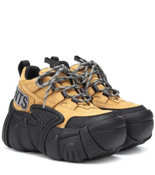 Vetements x SWEAR nubuck platform sneakers in yellow