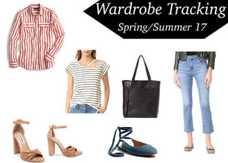 pinksole blogger shirt top pants bag shoes striped shirt striped top sandals tote bag jeans