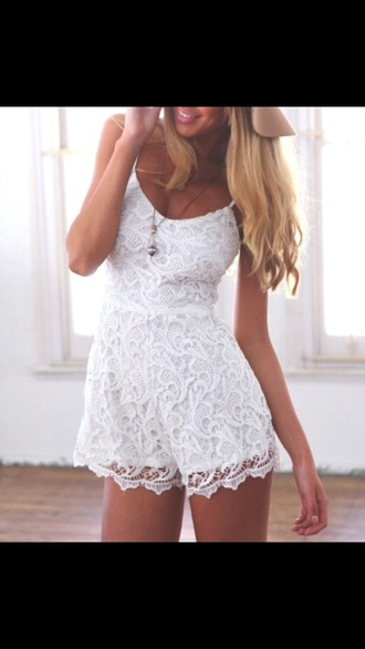 romper one piece jumpsuit white lace summer spring cute casual hippie bohemian girl girly pattern gypsy aliexpress