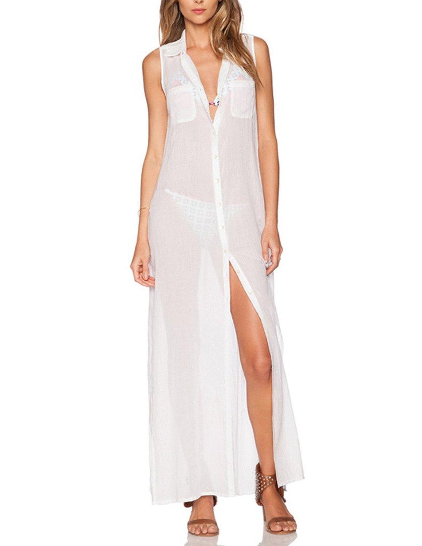 Haoduoyi womens hem slit sleeveless loose perspective maxi for Sleeveless dress shirt womens