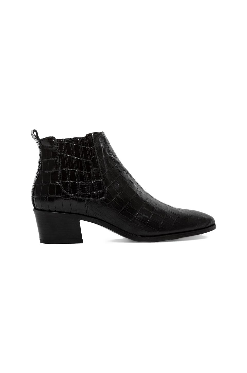 MODERN VICE COLLECTION Handler Bootie in Black Embossed Croc from REVOLVEclothing.com