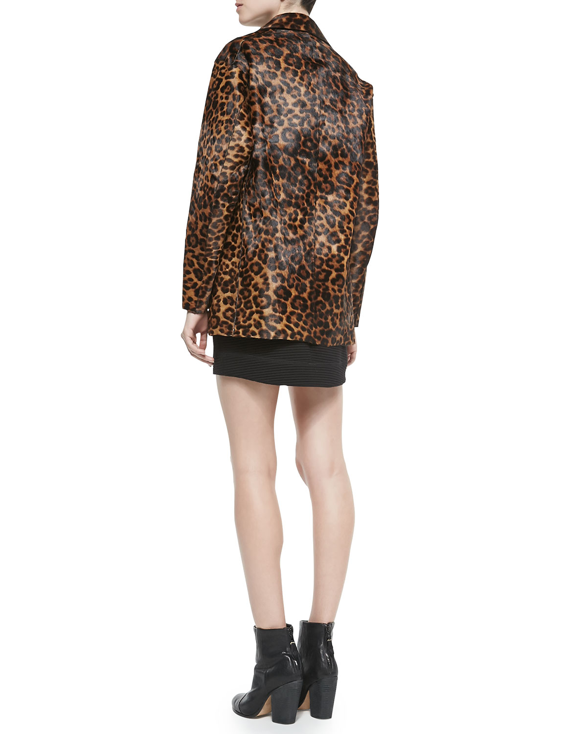 Rag & Bone Sigrid Leather Leopard-Print Coat, Fernanda Sleeveless Cutout-Back Top & Sloane Ribbed Mini Skirt