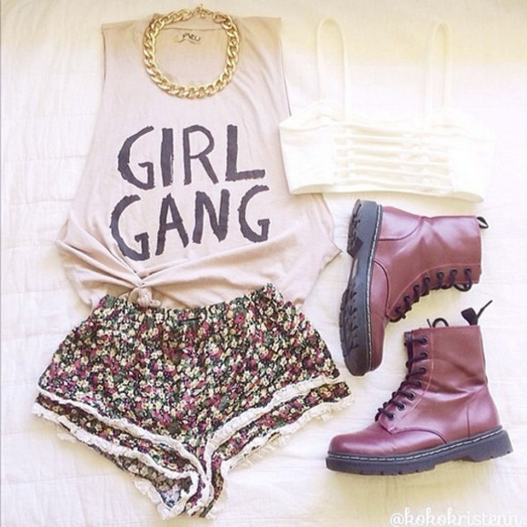 shorts shirt combat boots shoes boots dope girl gang tied shirt underwear
