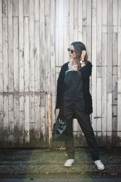 to bruck ave blogger fluffy cardigan overalls top jewels bag