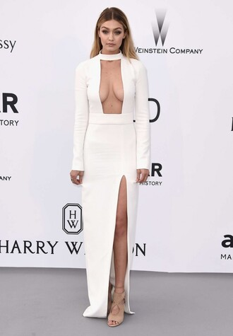 dress white plunge v neck gigi hadid slit dress white dress sandals prom dress gown shoes