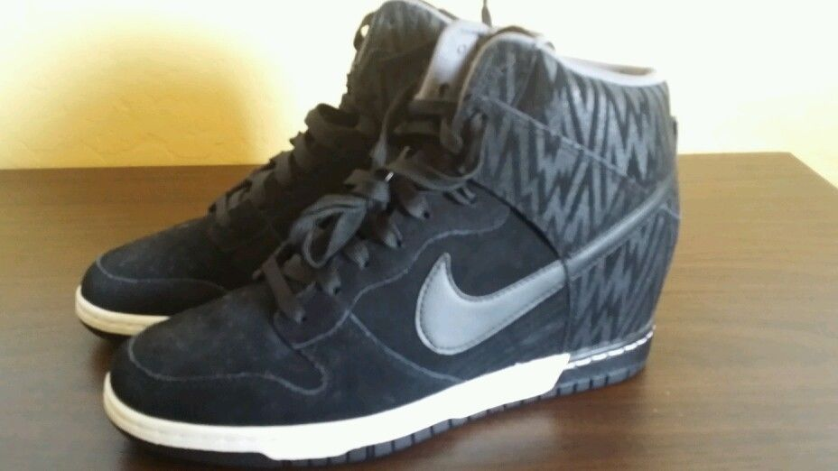 Women's Nike Dunk Sky Hi Print Black 9 Black Anthracite Cool Grey 543258 002 | eBay