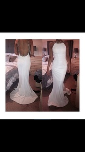 dress,long prom dress,beaded,white dress,sequin dress,mermaid prom dress,halterneck prom dress,backless prom dress,prom dress,blouse
