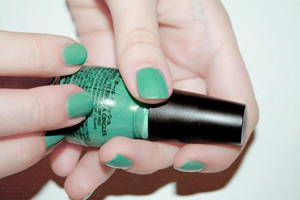 nail polish green jewels