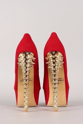 shoes red gold spikes red heels gold heel