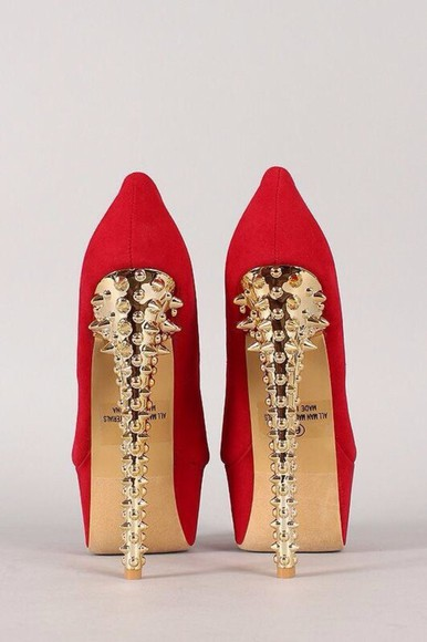 shoes gold heel red gold spikes red heels