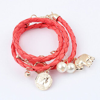 jewels bracelets pearl coin pendant