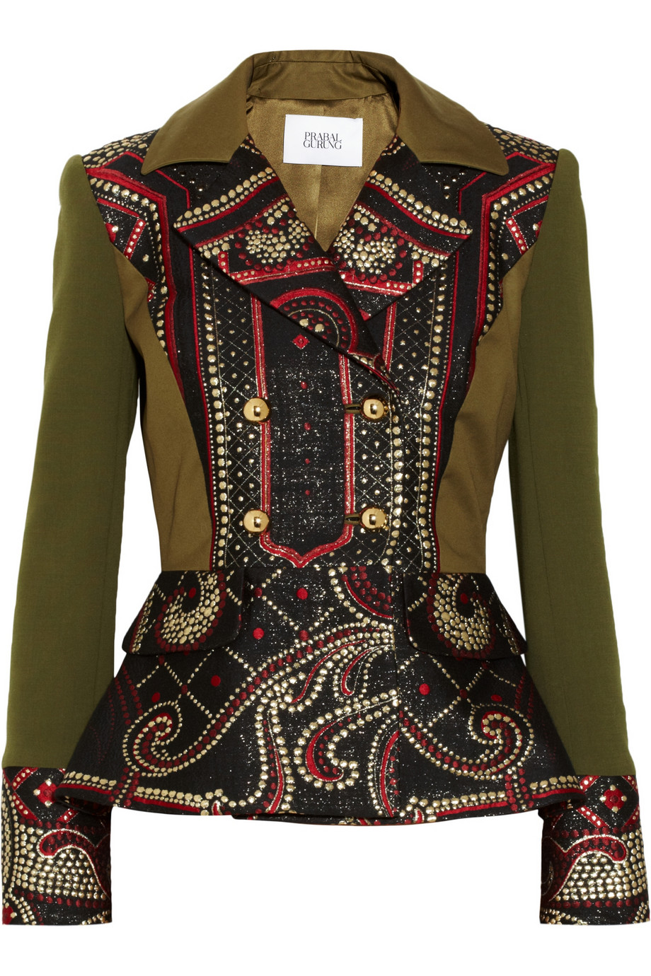 Prabal Gurung Metallic brocade and stretch-wool peplum jacket – 70% at THE OUTNET.COM
