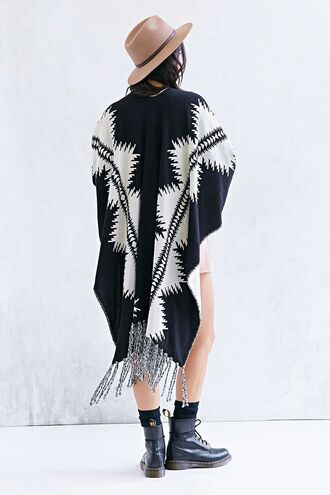 coat poncho alternative indie white cute hipster hippie urban alternative poncho pattern reversible pendleton aztec cardigan jacket