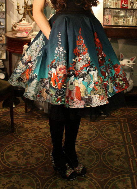 skirt skater skirt asian geisha lolita a-line skirt lolita skirt casual lolita kawaii japanese japanese pattern gothic lolita turquoise dress pretty gorgeous cute cute dress dress so pretty girly winter outfits teal colorswitch colorful