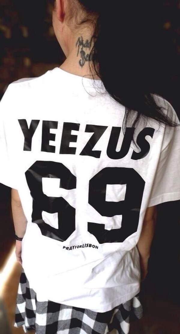 shirt white yeezus jersey black and white shirt kanye west t-shirt yeezy t-shirt black black print print dope dope shirt white shirt t-shirt dress black t-shirt white t-shirt top 69 crop top