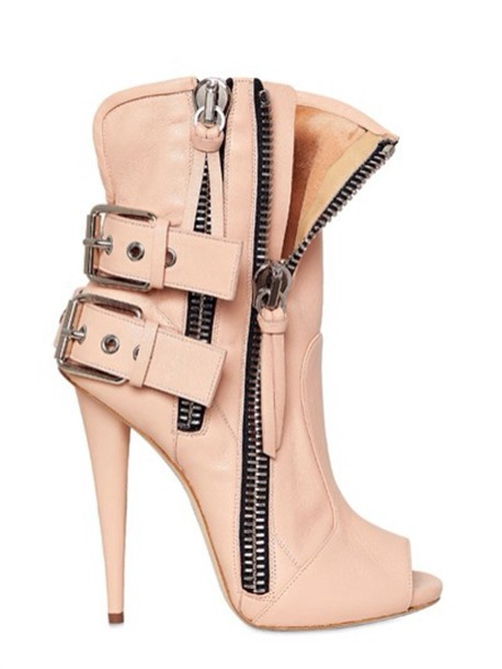shoes ankle boots guiseppe zanotti leather nude nuetral high heels bootie heel open toes biker biker boot biker heel motorcycle boot combat boot heel peep toe motorcycle
