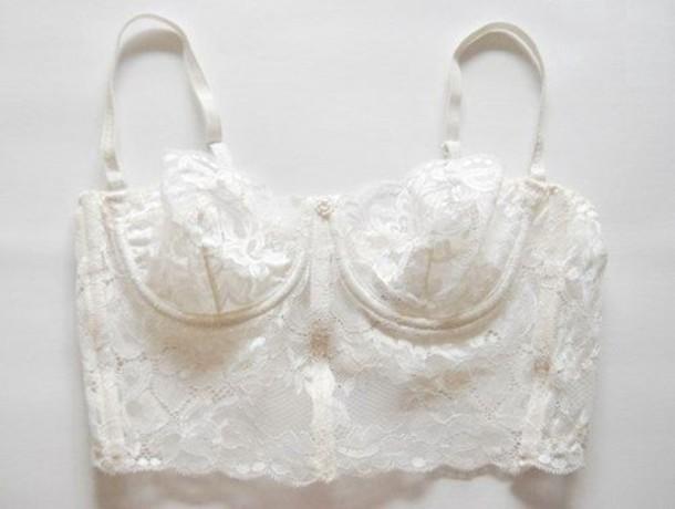 Underwear bra bralet bralette lace bridal lingerie white tumblr longline pretty lacey ...