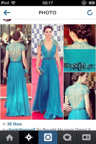 dress kate middleton blue backless royal buttons lace