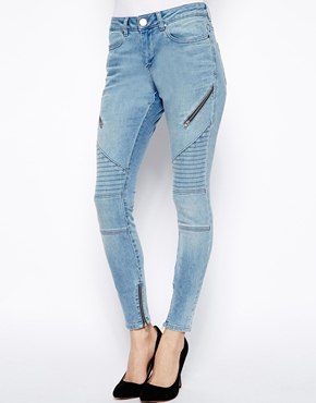 ASOS | ASOS Whitby Low Rise Skinny Ankle Grazer Jeans in Ashley Blue with Biker Detail at ASOS