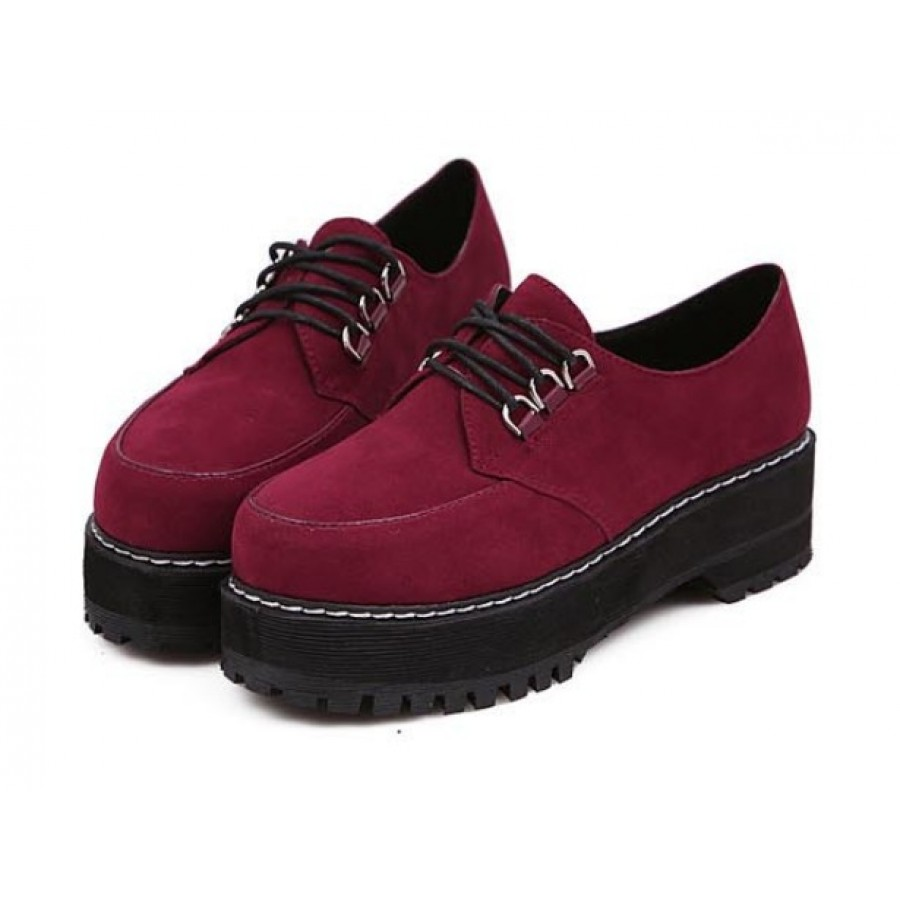 Maroon Suede Lace-Up Creepers