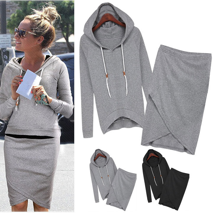 Wrap Skirt Hoodie Sweat Set | Outfit Made
