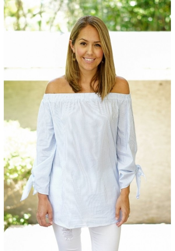 0ea34dcd73c1a0 Pinstripe off the shoulder top with sleeve ties