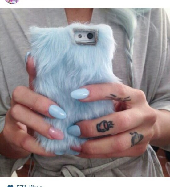 phone cover fluffy fluffy fur phone cover cool grey