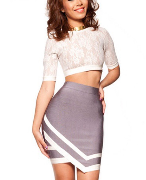 sexy dress two-piece skirt crop tops fashion white dress celebrity style