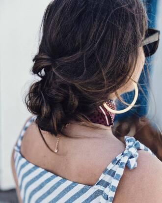 hair accessory tumblr hair hairstyles brunette earrings hoop earrings gold earrings jewels jewelry gold jewelry