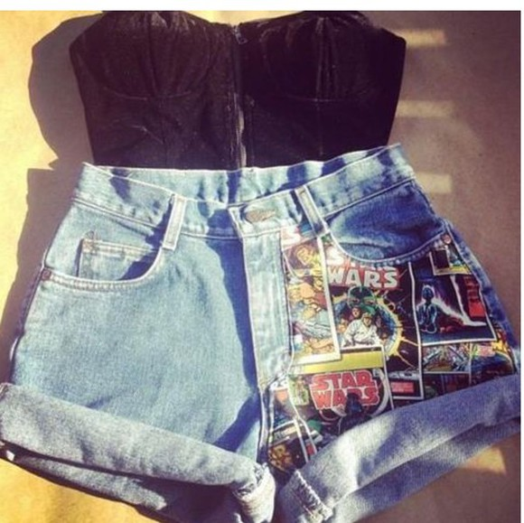 High waisted shorts high waisted denim denim shorts nerd star wars geek star wars shorts top