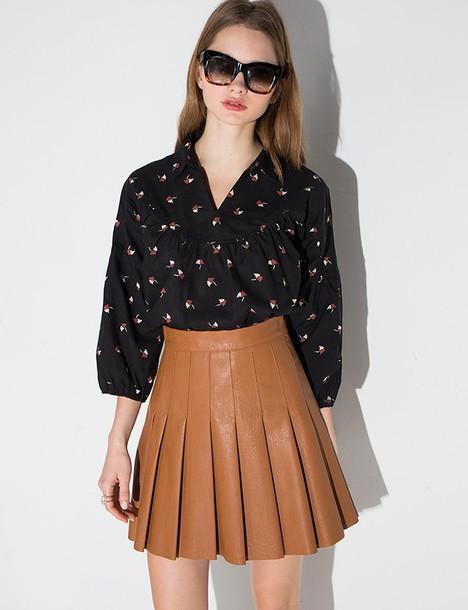 5de043268414 skirt, brown leather pleated mini skirt, pleated skirt, leather ...