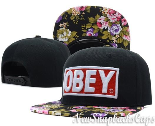 Obey Floral 5 Panel Cap Snapback Hats Original Black Adjustable