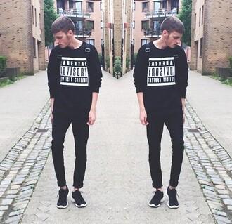 sweater black parental advisory black sweater tumblr tumblr outfit guys menswear alternative grunge