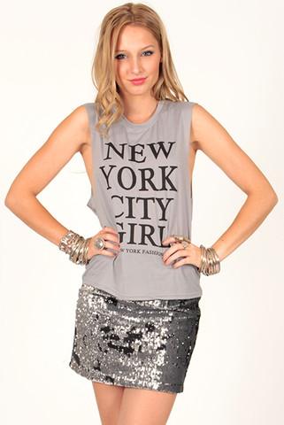 New York Printed Tank in Grey | Foxx Foe