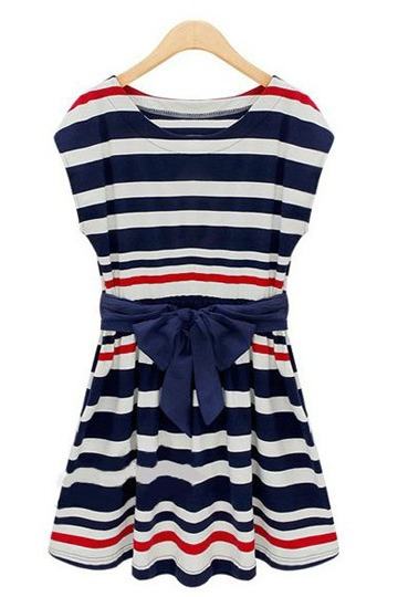 Navy Stripe Bowknot Belted Cotton Dress [FXBI0064]- US$44.00 - PersunMall.com