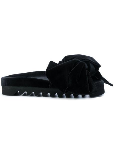 bow open women sandals leather black velvet shoes