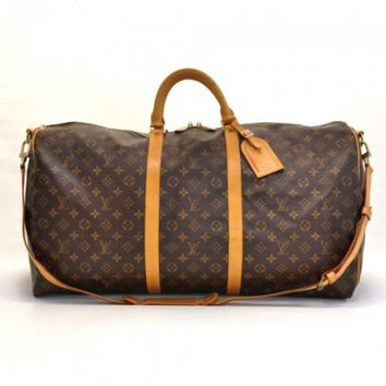 Louis Vuitton Keepall 60 Bandouliere Monogram Canvas Duffel Travel Bag   Strap on Wanelo