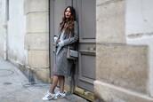 sofya benzakour knidel,la couleur du moment | blog mode,lifestyle,entre le maroc et paris,blogger,coat,dress,shoes,bag,all grey everything,adidas superstars,h&m,tobi