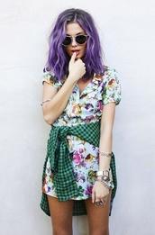 dress,pastel hair,pretty,flowers,sunglasses,button,buttons,fashion,collared dress,shirt dress,hair accessory,hair