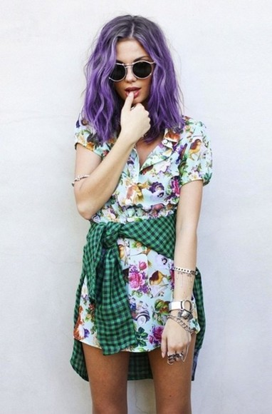 shirt dress sunglasses floral button buttons fashion collar dress dress