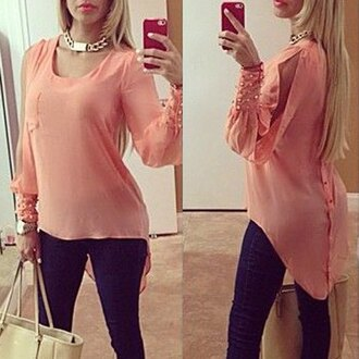blouse stylish asymmetrical scoop collar long sleeves chiffon polyester