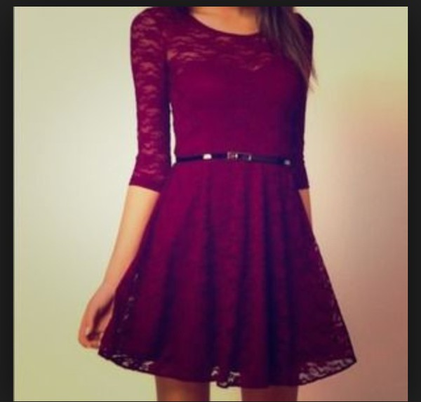 dress homecoming dress burgundy lace dress