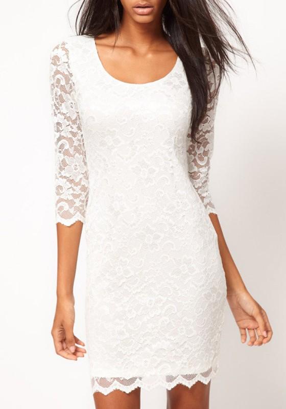 White Plain Double-deck Half Sleeve Skinny Lace Dress
