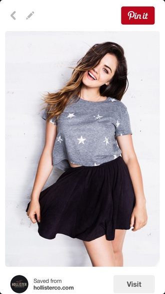 top crop tops skater skirt stars lucy hale hollister