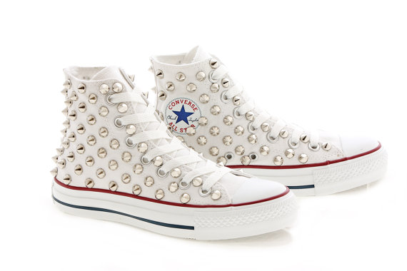 4d9bbd1b788c Studded White Converse Silver Studs with converse by customduo