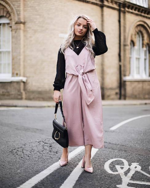 jumpsuit tumblr pink jumpsuit top black top bag black bag pumps pointed toe pumps