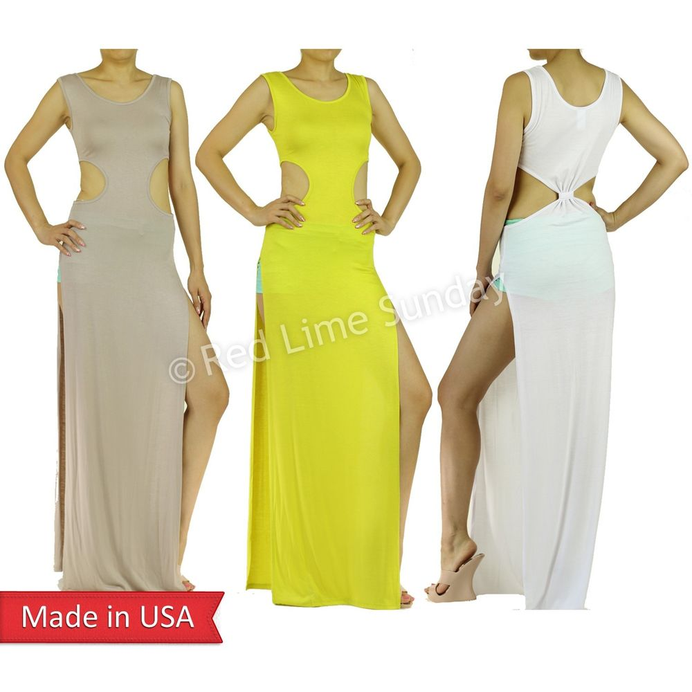 Women Side Cut Out Double High Split Slit Lightweight Long Tank Maxi Dress USA